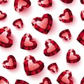 Shiny Red Ruby Heart On White Background Seamless Royalty Free Stock Images - 55552599