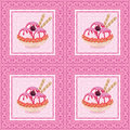 Seamless, Ice Cream And Floral Pattern Royalty Free Stock Images - 55558239