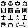 Arbors, Gates, Fountains, Benches Royalty Free Stock Image - 55560276