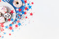Cupcakes With American Flags On Independence Day Stock Photo - 55594890