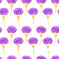 Watercolor Vector Floral Seamless Pattern With Decorative Violet Thistle Flowers. Spring Royalty Free Stock Images - 55600199