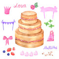 Hand Painted Watercolor Cake. Vector Illustration. Royalty Free Stock Photography - 55603377