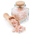 Himalayan Pink Salt In A Glass Bottle Royalty Free Stock Photo - 55612255