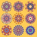 Yellow Circle Lace Ornament, Round Ornamental Stock Photography - 55615362