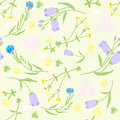 Seamless Pattern Of Wildflowers And Pink Hearts. Vector Illustration Stock Photos - 55619663