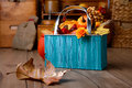 Autumn Decorations On Vintage Kitchen In Turquoise And Orane Royalty Free Stock Photography - 55620997