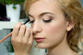 Make-up Artist Applying Color Eyeshadows On Model S Eye, Close U Stock Photography - 55636682