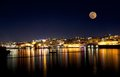 Beautiful Valletta At Night With Full Moon In Blue Dark Sky Background With The Stars Royalty Free Stock Image - 55642636