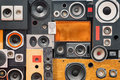 Retro Vintage Style Music Sound Speakers Stock Images - 55651544