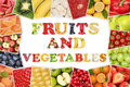 Frame Word Fruits And Vegetables With Apple, Orange, Tomatoes Stock Image - 55653001