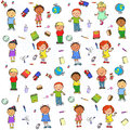 Seamless Pattern With Kids On It Stock Images - 55654214