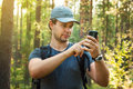 Man Tourist With Smartphone Royalty Free Stock Photography - 55658177
