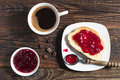 Bread With Jam And Coffee Cup Stock Photography - 55659222