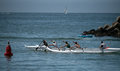 Outrigger Team Go Out To Practice, Morning In Santa Cruz Royalty Free Stock Photography - 55690087