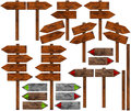 Set Of Directional Wooden Signs With Pole Royalty Free Stock Photography - 55690827