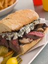 Steak And Roquefort Sandwich With Fries Gherkins Stock Photography - 5574602
