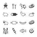 Meat And Grill Icons Stock Image - 55703041