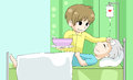 Cute Cartoon Son Is Nursing His Old Sick Father With Love And Ca Royalty Free Stock Photos - 55703578