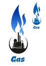 Gas Processing Black Silhouette With Blue Flame Stock Photos - 55713123