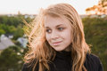 Beautiful Blond Teenage Caucasian Girl Royalty Free Stock Photography - 55716437