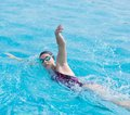 Woman In Goggles Swimming Front Crawl Style Stock Photos - 55724543