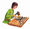 Goldsmith - Hand Drawn Color Illustration, Part Of Medieval Series Set Royalty Free Stock Photos - 55732998