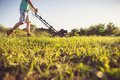 Young Man Mowing The Grass Stock Photo - 55743900