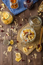 Homemade Yogurt With Granola, Dried Fruit And Nuts Bio Royalty Free Stock Images - 55749659