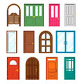 Set Of Front Buildings Doors In Flat Design Style Royalty Free Stock Photography - 55758027