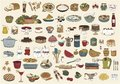 Collection Of Cute Hand Drawn Food Illustrations Stock Photos - 55759503
