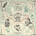 Vector Vintage Icons And Objects On Crumpled Paper Stock Image - 55770881