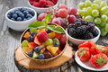 Fruit Salad In A Bamboo Bowl And Fresh Berries Royalty Free Stock Image - 55795606