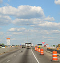 Construction Barrels Along The Interstate Highway Stock Image - 5580341