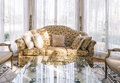Sofa With Pillows Table Set With Floral Fabric Classic Style Stock Photo - 55803650