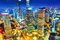 Night View Skyscrapers, City Building Of Pudong, Shanghai, China Royalty Free Stock Photo - 55806675