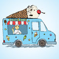 Hand Drawn Sketch Ice Cream Truck, Color And Playful With Yang Man Seller And Ice Cream Cone On Top Royalty Free Stock Photos - 55814418