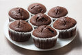 Сhocolate Muffins On The Round Plate Royalty Free Stock Photography - 55816187