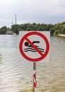 No Swimming Sign With Rough Lake Royalty Free Stock Photography - 55816467