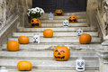 Halloween Pumpkin Decoration On Stairs Royalty Free Stock Images - 55826989