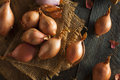Raw Organic Spicy Shallots Royalty Free Stock Images - 55828979
