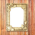 Gold Picture Frame On Wooden Wall Royalty Free Stock Image - 55831076