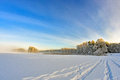 Footprints In The Snow Lake. Stock Photo - 55853880