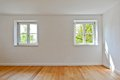 Living Room In An Old Building - Apartment With Wooden Windows And Parquet Flooring After Renovation Stock Photos - 55857113
