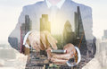 Double Exposure Of Success Businessman Using Smart Phone Stock Photography - 55877202