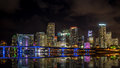 Miami Skyline At Night Stock Images - 55885974