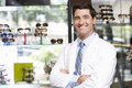 Portrait Of Male Optician By Glasses Display Royalty Free Stock Image - 55897406