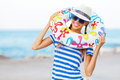 Beach Woman Happy And Colorful Wearing Sunglasses And Beach Hat Having Summer Fun During Travel Holidays Vacation Stock Images - 55898274