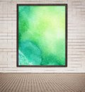 Painted Green Watercolor Picture With Wooden Frame Stock Image - 55899451