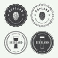 Set Of Vintage Beer And Pub Logos, Labels And Emblems With Bottl Stock Photography - 55905382