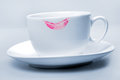 Lipstick Pink On  White Cup Stock Photo - 55913230